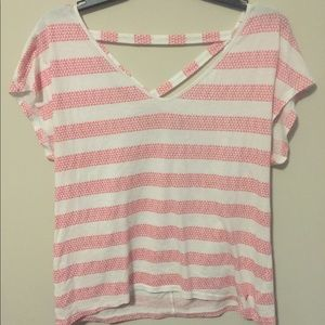 Pink and White Striped American Eagle Tee
